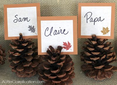 Easily print out these cute placecards, and insert them into hand-picked pinecones! You can even have your little ones paint the ends of the pinecones gold for a little something extra!